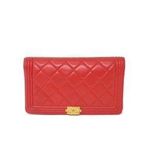 100% Auth Chanel Lambskin Red Bifold Wallet